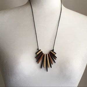 Jewelry - Earthy Wood Spikes Adjustable Length Necklace 24""
